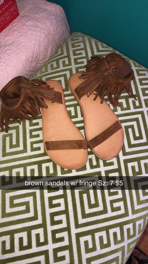 Brown Sandals W/ Fringe for Sale in Smithfield, NC