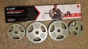 New CAP curl bar dumbbell handles steel plates and 100lbs vinyl set Read Read for Sale in Medford, MA