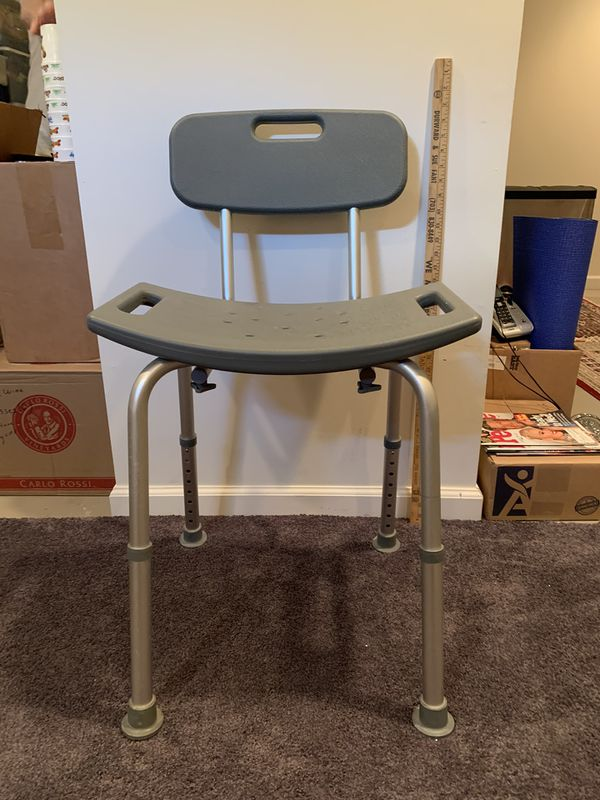 Aluminum bath/shower chair with back