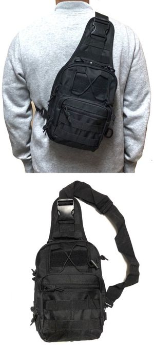Brand NEW! Black Tactical Molle Crossbody/Shoulder/Side Bag/Pouch/Sling/Messenger For Traveling/Everyday Use/Work/Hiking/Biking/Sports/Gym/Fishing $20 for Sale in Carson, CA
