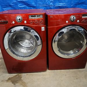 LG Red Washer And Electric Dryer Set Good Working Condition Set For $549 for Sale in Wheat Ridge, CO