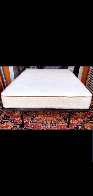 Newer Full Size Seattle Mattress Co Mattress with Raised Platform Bed Frame for Sale in Renton, WA