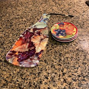 Decorative Glass Cheese Tray And 3coasters for Sale in Phoenix, AZ
