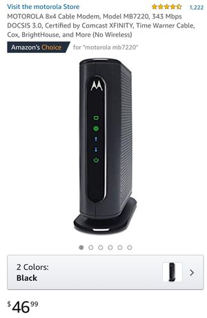 MOTOROLA 8x4 Cable Modem, Model MB7220, 343 Mbps DOCSIS 3.0, Certified by Comcast XFINITY, Time Warner Cable, Cox, BrightHouse, and More for Sale in Los Angeles, CA
