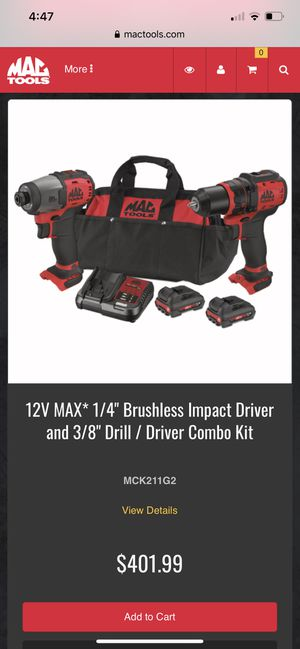 "Mac tools cordless 1/4"" impact and 3/8"" drill combo. Brand new never used comes with bag, charger and two 20v batteries for Sale in McHenry, IL"