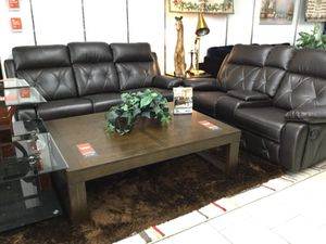 Dark brown reclining sofa and love for Sale in Dearborn, MI
