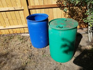 55 gallon blue plastic drum 1 without lid $15.00 each for Sale in Colorado Springs, CO