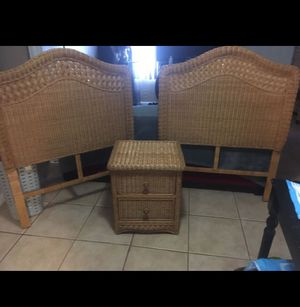 2 Wicker Twin Headboards and 1 Nightstand for Sale in Palm Springs, FL