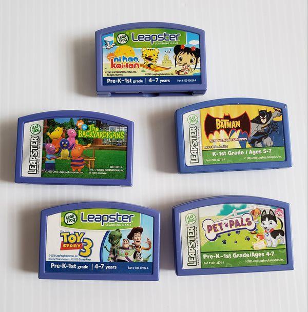 Leap Frog Leapster The Bacyardigans, Pep-Pals, Batman, Toy Story 3, Ni Nao Kai-Lan 5-Lot Cartridge Only