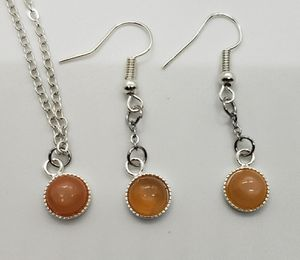 Natural Orange Moonstone Earring/Necklace Set for Sale in Haslet, TX