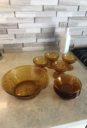 Amber glass dessert set for Sale in Monument, CO