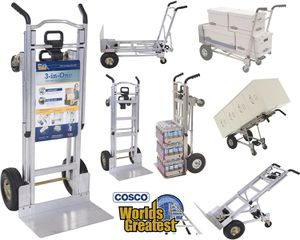 New Cosco Heavy Duty 1000 lb. 3-In-1 Aluminum Assisted Hand Truck Dolly Cart with Flat Free Wheels Commercial Grade $180 MSRP for Sale in Covina, CA