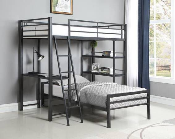 Twin Workstation Loft Bed with Twin Bed Below ONLY $399! SALE!