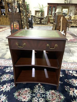 Green Leather Top Computer Writing Desk w/ 2 Shelves for Sale in West Palm Beach, FL