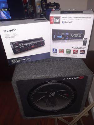 Comp R kicker, sony cdx-g1200u compact disc player, car dual blue tooth XDM280BT for Sale in Washington, DC