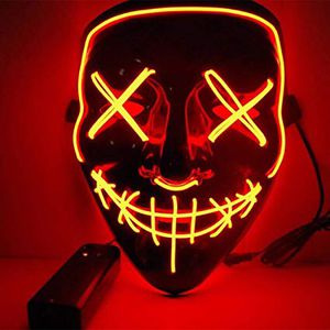 New halloween costume mask cosplay rave party LED glow scary mask costume party orange pink green or white purge movie dance club for Sale in La Mirada, CA
