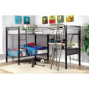 Furniture of America Brando Triple Twin Bunk Bed with Desk, Gray & Silver. A0-9709 for Sale in St. Louis, MO