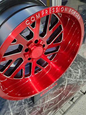 20x10 -19 axe candy red wheels fits jeep wrangler chevy silverado 1500 f150 6x139 6x135 5x127 rim wheel tire shop for Sale in Tempe, AZ