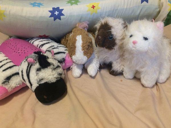 Toys and stuffed animals with zebra night light