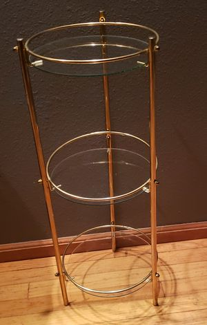 Small round 3 tier glass shelf for Sale in Black Diamond, WA