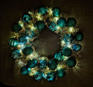 Handmade Christmas ornaments wreath with LED lights for Sale in Olney, MD