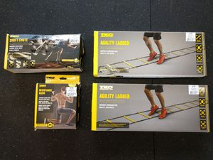Fitness Bundle - 2 Agility Ladders, Swift Chute, Resistance Band for Sale in Fife, WA