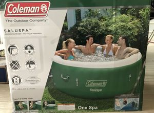 Coleman SaluSpa Inflatable Hot Tub Spa, Green & White for Sale in Naperville, IL