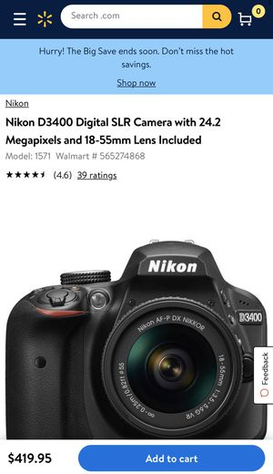 Nikon D3400 with lense included for Sale in Cincinnati, OH