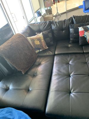 Black Leather Sectional Couch for Sale in SEATTLE, WA
