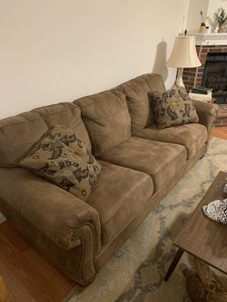 Brown Faux Leather Couch & Recliner Set for Sale in Florissant,  MO