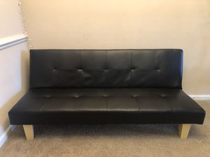 Tufted Faux leather convertible couch futon sofa bed for Sale in Cary, NC