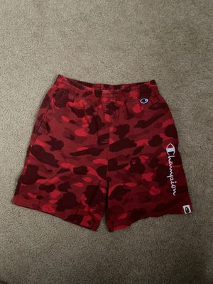 BAPE x Champion Sweat Shorts Red Camo size M for Sale in Clovis, CA