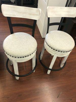 White velvet upholstered swivel bar stool (4PC)!!! WE FINANCE for Sale in Parma, OH