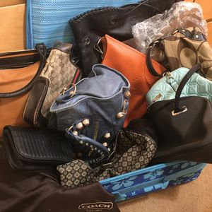 Suitcase full of Designer Bags Gucci Coach Balenciaga Hermes Kate Spade Tory Burch Nine West Hobo leather Belt Bag for Sale in San Diego, CA