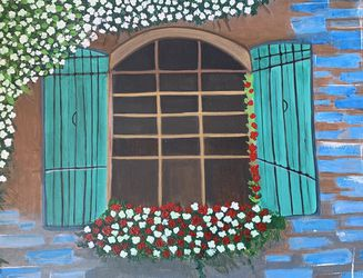 Painting - A Windows With White And Red Roses for Sale in Anaheim,  CA