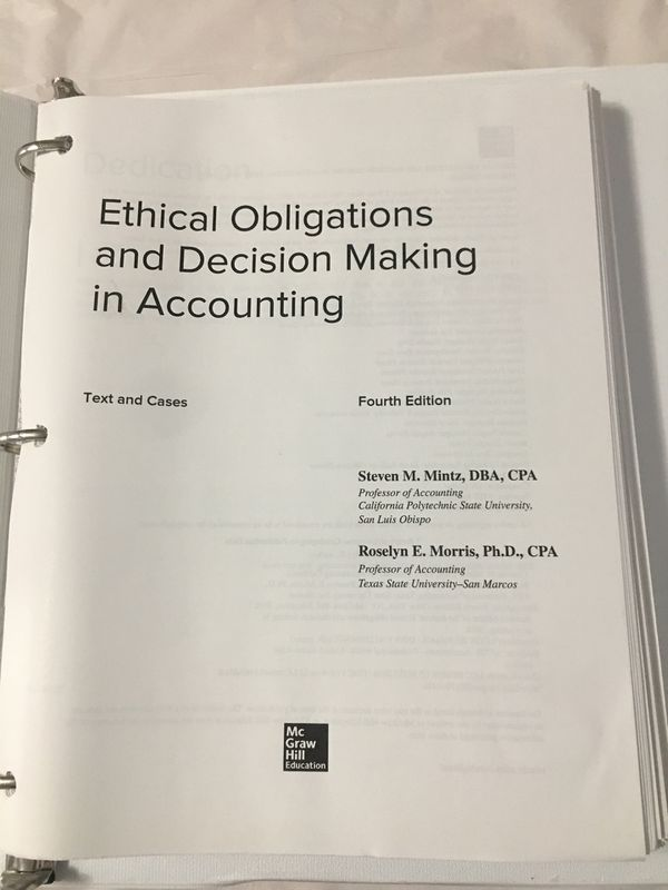 Ethical obligations and decision making in accounting 4th edition