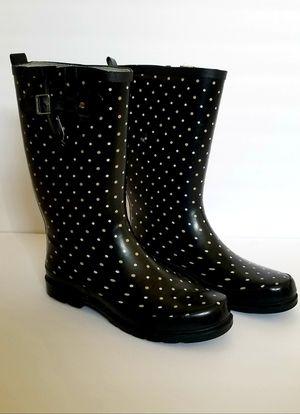 Women Rain Boots- Size 11- Black Polka Dots- Western Chief for Sale in Rialto, CA