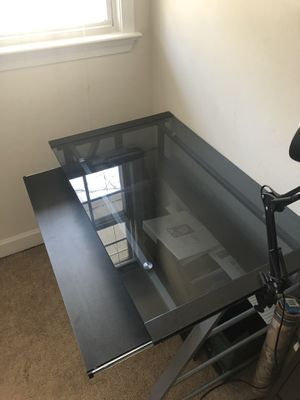 Glass and Metal Desk with Desk Lamp for Sale in Arlington, VA