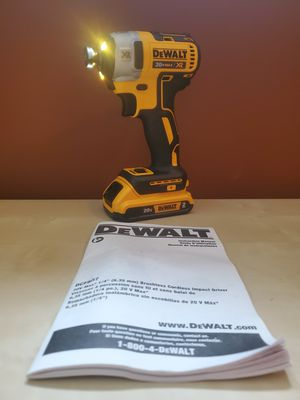 "DCF887B20V MAX* XR® 1/4"" 3-SPEED IMPACT DRIVER with a 2AH BATTERY NO CHARGER for Sale in Frederick, MD"