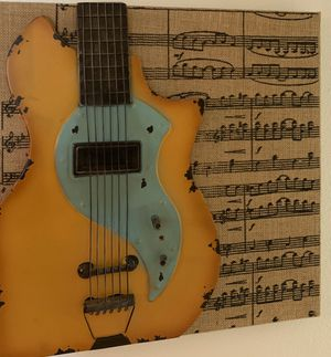 Vintage guitar music sign picture decor for Sale in Coral Springs, FL