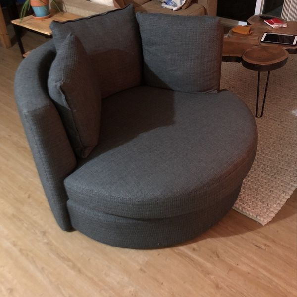 Gray Macy's Barrel Couch Rotating