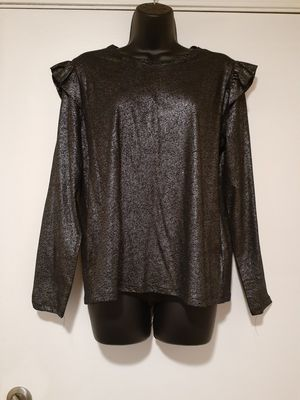 Michael Kors Blk/silver Long Sleeve Fashion Top Blouse, PL, Retail $74 for Sale in Federal Way, WA