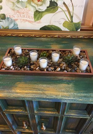 Succulent tray with shot glass candle . Center piece . for Sale in Scottsdale, AZ