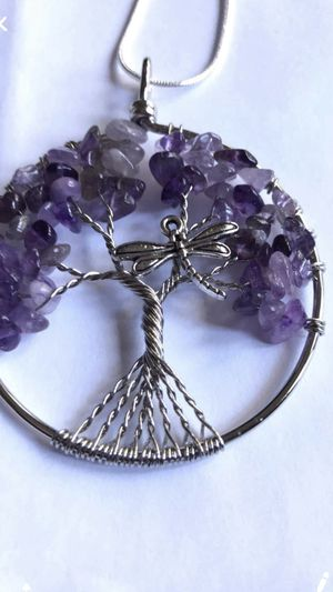 Jewelry Necklace Amethyst Gemstone Dragonfly Silver with Silver Chain or Leather Cord for Sale in Worcester, MA