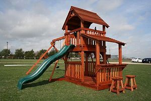 Outdoor playset / playground - slide, swings, two decks and porch/lemonade stand for Sale in Austin, TX