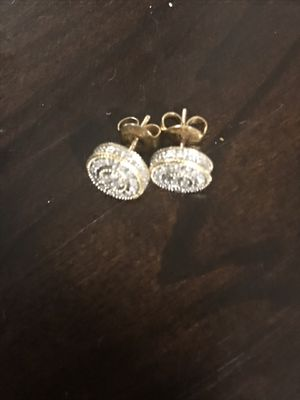 14k Diamond earrings with yellow gold for Sale in Waterbury, CT