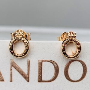 New Authentic PANDORA Rose Gold Sparkling Crown Stud Earrings 288311C01 for Sale in Gaithersburg, MD