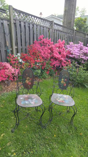Pair Wrought Iron Hand painted Tole Wood Chairs for Sale in Arlington, VA