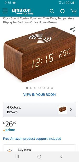 Brand new alarm clock with Qi wireless charging pad compatible with iPhone/Samsung for Sale in Hutto, TX
