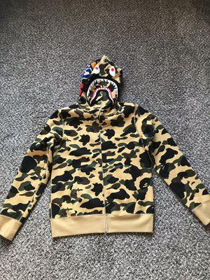 Bape 1st camo shark full zip up hoodie yellow for Sale in Katy, TX